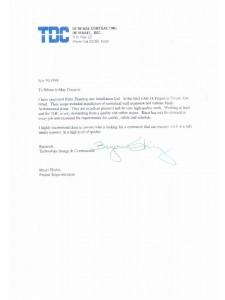 מכתב תודה מ-TDC