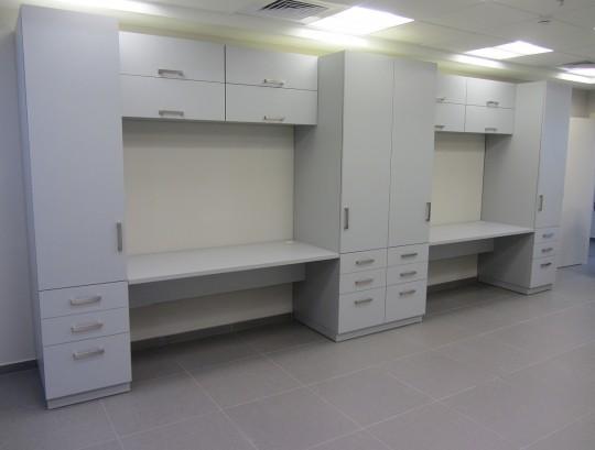 ארונות ועמדות מעבדה סנדוויץ מצופה פורמייקה כולל צירים ומסילות טריקה שקטה.